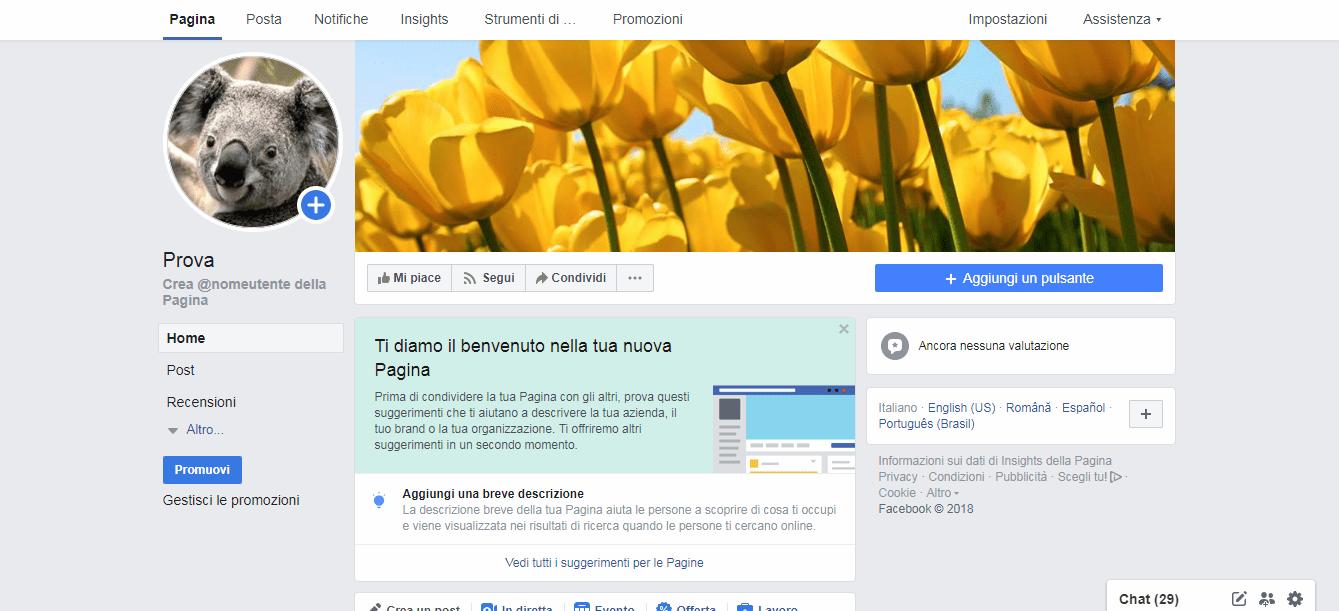 schermata pagina facebook con immagini