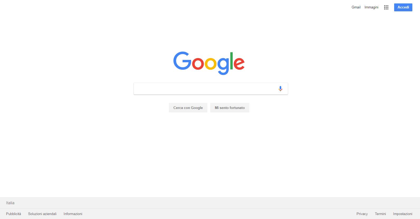 Schermata bianca Google