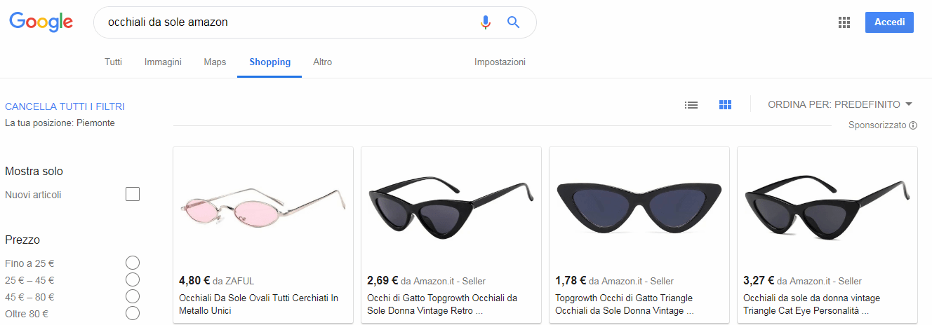 Screen ricerca Google occhiali da sole
