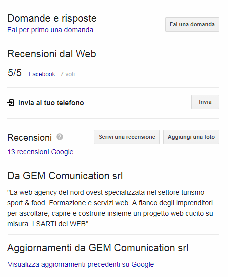 scheda Google my Business 2 di 2