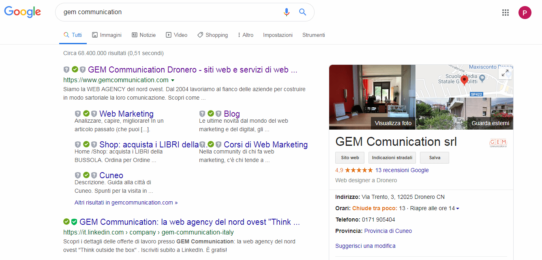 Screen Risultato ricerca scheda Google My Business Gem Communication
