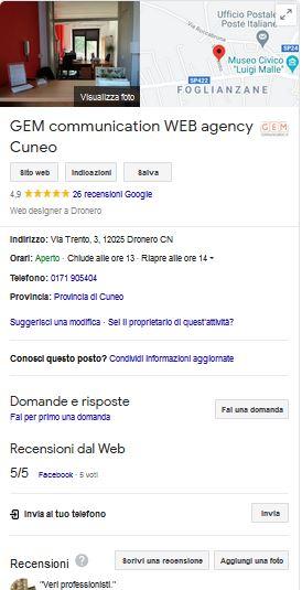 Scheda Google My Business Gem Communication